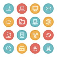 Cloud computing & internet web icons, color circle buttons