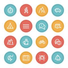Travel web icon set 3, color circle buttons