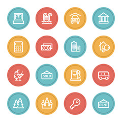 Travel web icon set 4, color circle buttons