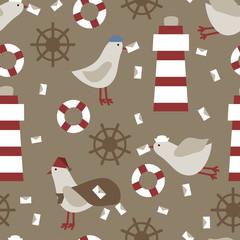 Seamless nautical pattern texture elements background