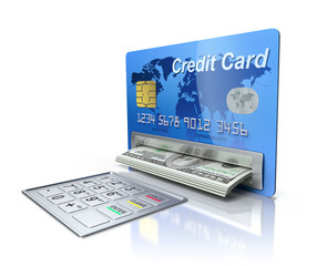 Cash machine in the credit card