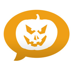 Etiqueta tipo app azul comentario simbolo calabaza de Halloween