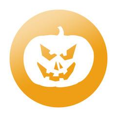Etiqueta redonda calabaza de Halloween
