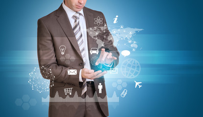 Businessman hold empty copy space. Network, icons and world map