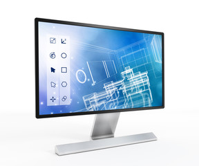 3D design software on computer screen