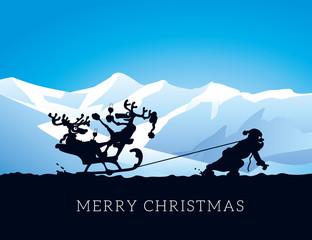 Silhouette Weihnachtsmann zieht Schlitten mit Rentieren