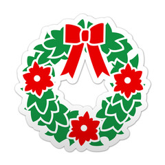 Pegatina simbolo guirnalda de navidad