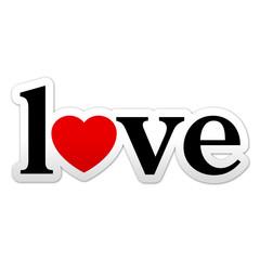 Pegatina texto love