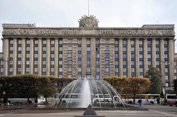 the house of Soviets in Moscow square in St. Petersburg, Russia