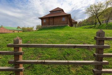 wooden fence in ukrainian village