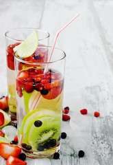 cool drink with fresh berries and fruit
