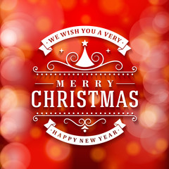 Merry Christmas message and background with snowflakes