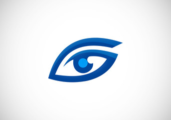 eye vision optic abstract vector logo