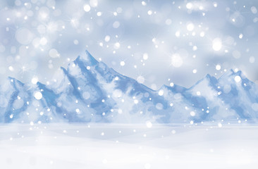 Vector of winter scene with mountain background.