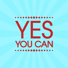 Yes You Can Vector . Abstract Retro Motivation Poster