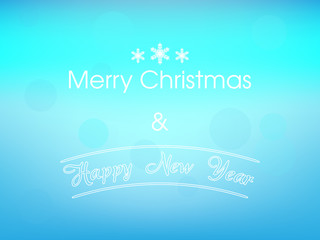 Merry Christmas and Happy New Year Vector on Blurred Background