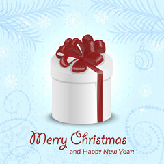 Christmas card with a gift in the middle on  blue background