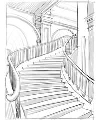 архитектурный рисунок лестницы