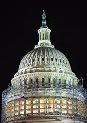US Capitol North Side Dome Construction Night Washington DC