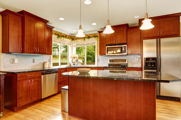 Kitchen room interior with island