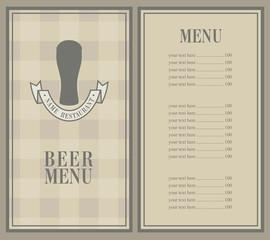 retro menu with beer mug