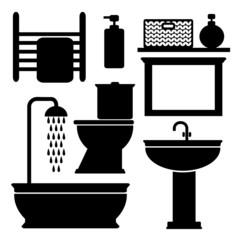 Bathroom toilet black icons set, vector black silhouettes