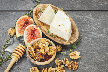 Fresh Figs with Spiced Honey and Goat Cheese.