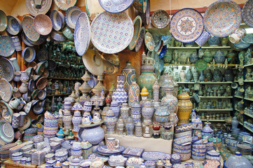 Shop with traditional pottery in Fes, Morocco