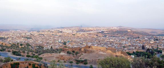 Panorama of the city of Fes in Morocco