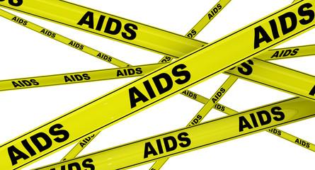СПИД (AIDS). Желтая оградительная лента