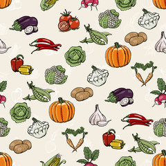Seamless diagonal pattern with colored vegetables