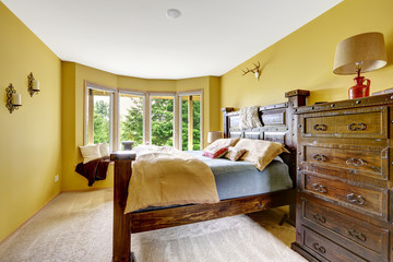 Farm house interior. Luxury bedroom interior with rich wooden fu