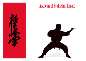 Silhouette of the man of engaged karate on a white background.
