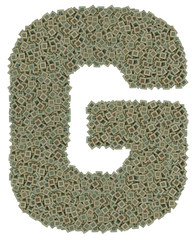 letter G made of old and dirty microprocessors