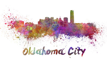 Oklahoma City skyline in watercolor