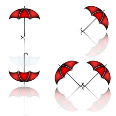 Set of red umbrella on white background with shadows