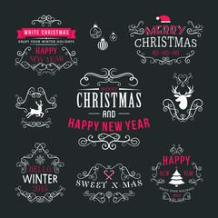 Christmas decoration set of typographic design elements
