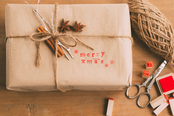 Handcrafted and ecological Christmas package