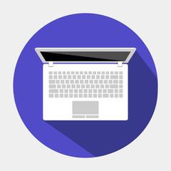 круглая векторная иконка с изображением ноутбука