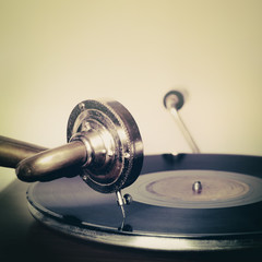 Vintage classic gramophone player needle record