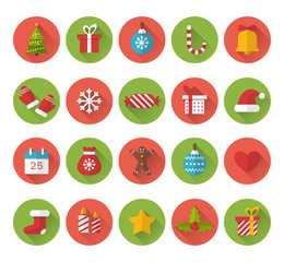 Christmas flat icons with long shadow effect