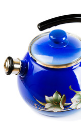 Teapot metallic, blue, isolated on white background