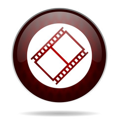 film red glossy web icon on white background.