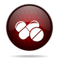 medicine red glossy web icon on white background.