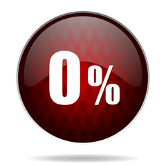 .0 percent red glossy web icon on white background.