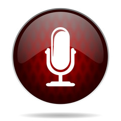 microphone red glossy web icon on white background.
