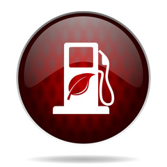 biofuel red glossy web icon on white background.