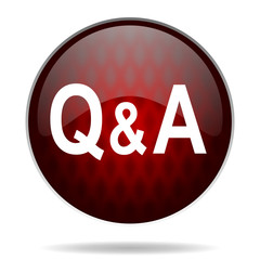 question answer red glossy web icon on white background.