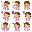 中高年女性の表情セット