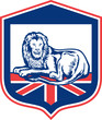 Lion Lying British Flag Shield Retro